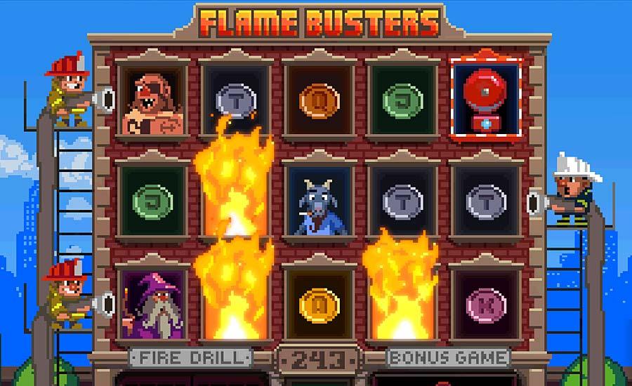 Flame Busters -kolikkopelin pelialue